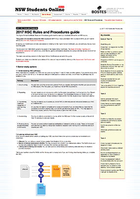 BOSTES – 2017 HSC rules and procedures guide