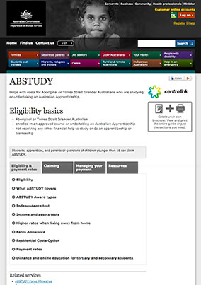DHS – ABSTUDY web content