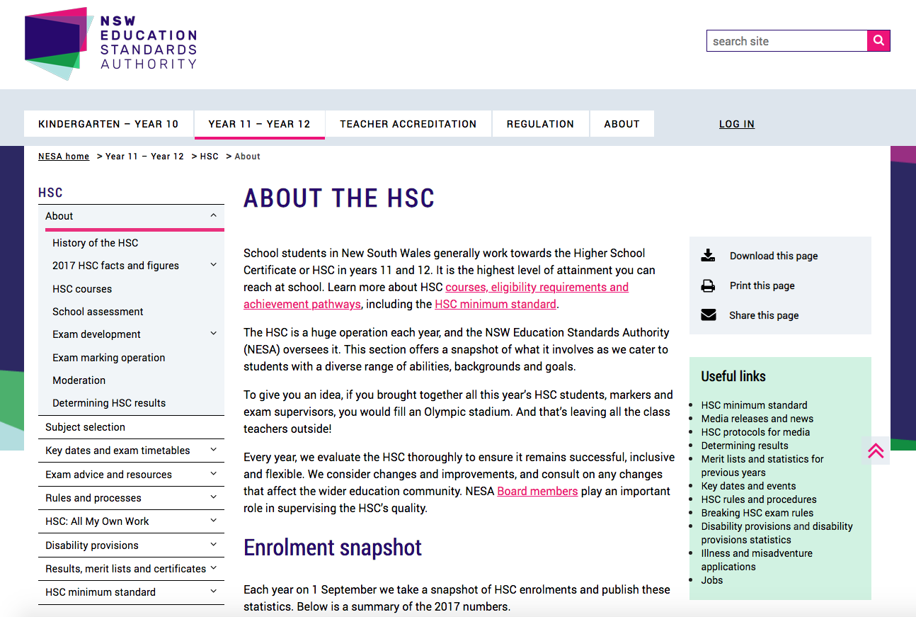 NSW Education Standards Authority - About HSC